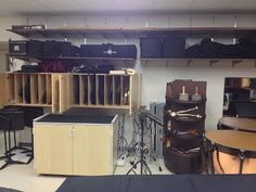 Percussion Instrument Storage Main Percussion Storage Room 4 Buying Wholesale Apparel for sale on eB Storage Room, Room Organization, Band Rooms, Drums Studio, Home Studio, Buying Wholesale, School Design, Maine, Percussion Instrument