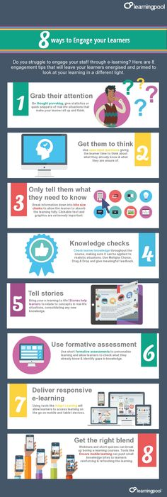 8 Ways to Engage #eLearners Infographic - http://elearninginfographics.com/8-ways-engage-elearners-infographic/ #edtech