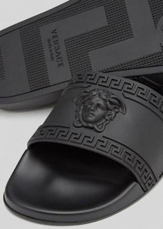 Men Slides, Pool Slides, Nike Air Shoes, Men's Shoes, Swag Shoes, Versace Sandals, Versace Slippers, Black Gucci Shoes, Mens Luxury Brands
