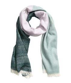 Mint green. Color-block scarf in soft woven fabric with frayed edges. Size 27 1/2 x 78 3/4 in.