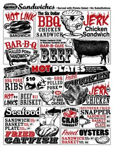 Papa's Soul Food Kitchen and BBQ - This menu is divided into the typical sections—sandwiches, entrees (hot plates), sides and more—but each is defined by stylized type and whimsical drawings of animals and food. Restaurant Menu Design, Cool Restaurant, Restaurant Branding, Vegan Quesadilla, Pastrami Sandwich, Sandwich Bar, Texas Chili, Texas Bbq, Bbq Pork