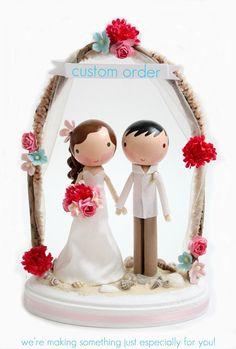 custom wedding cake topper  order for  by lollipopworkshop on Etsy, $190.00