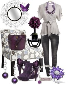 """""""I Heart Purple"""" by anna-campos ❤ liked on Polyvore"""