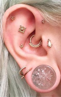 Cute Ear Piercing Ideas Gold Multiple Boho Tribal Rook Daith Cartilage Tragus