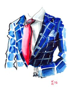 Red Tie and Blue Checkers Art Print by Sunflowerman - X-Small Daily Fashion, Fashion Art, Fashion Brands, Cartoon Owl Drawing, 1 Clipart, Abstract Painting Techniques, Watercolor Cake, Beauty Illustration, Cakes For Men
