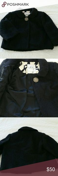 Evening jacket Vintage jacket in fantastic condition. Fab original rhineston button. An original from Milly of New York. Black mohair with satin lining. Three quarter sleeves with two front slash pockets. Smells fresh, looks gorgeous, like Audrey Hepburn just took it off. Milly of New York  Jackets & Coats Blazers