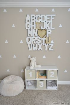 I Love You Alphabet Accent Wall - we love this modern, neutral take on an alphabet wall!