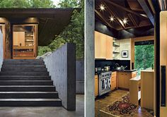 Like the concrete retaining walls and exposed roof beams.