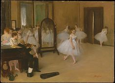 Edgar Degas (French, Paris 1834–1917 Paris). The Dancing Class, ca. 1870. The Metropolitan Museum of Art, New York. H. O. Havemeyer Collection, Bequest of Mrs. H. O. Havemeyer, 1929 (29.100.184) #dance #Degas | This is the very first of Degas's innumerable scenes of ballet dancers going through their paces in the studios and rehearsal rooms of the Paris Opéra. #paris