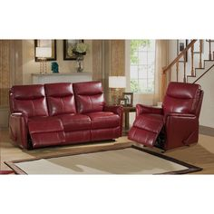 Sofa Cover Napa Red Top Grain Leather Lay Flat Reclining Sofa and Chair Set by Amax