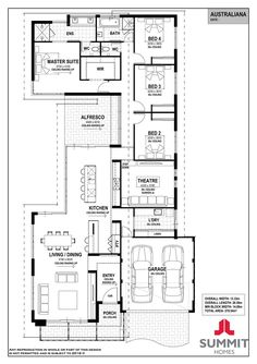 Australiana - South West - Summit Homes Modern House Floor Plans, Small House Plans, Home Design Plans, Plan Design, House Plans Australia, House Plans South Africa, Pool House Designs, Summit Homes, 4 Bedroom House Plans
