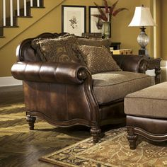 Signature Design by Ashley Alexandria Chair and a Half and Ottoman