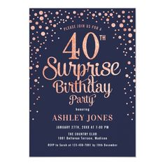 Surprise 40th Birthday Party - Navy & Rose Gold Invitation 60th Birthday Party Invitations, 90th Birthday Parties, Gold Invitations, Birthday Ideas, Birthday Supplies, Invites, Birthday Gifts, Surprise 30th Birthday, Rose Gold