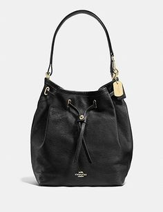Coach Tie Turnlock Bucket Bag in Soft Matte Grain Leather