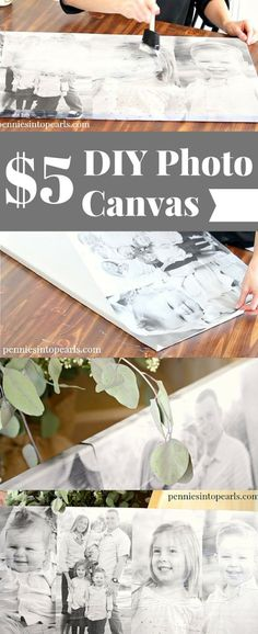 DIY Photo Canvas using cheap engineer prints. Quick and cheap diy to get an…