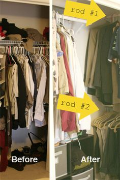 7 Awesome Organizing Hacks for Your Tiny Closet  Read more: http://www.oprah.com/home/Small-Closet-Organization-Bedroom-Closet-Storage-Ideas#ixzz2plxx2OVa