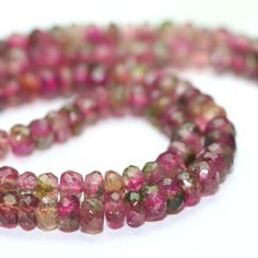 This listing is for a set of 10 pieces of watermelon Tourmaline micro faceted rondelles. These gems are dichromatic, each piece containing at least two colors. Green and pink, some are saturated and some lighter with a more yellow green color. It is very rare to have an entire strand of dichromatic tourmaline rondelles.  Most natural gemstones have smaller drill holes. Briolettes are easier to work with using dead soft wire. Use 28 or 30 gauge wire to work with these stones. Beading wire…