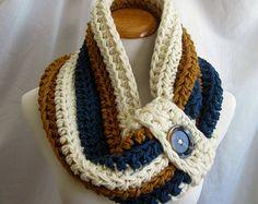 Chimenea botón grueso Crochet voluminosa chimenea: Azul