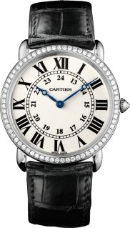 Large model, rhodiumized 18K white gold, leather, diamonds