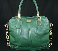 Authentic Coach Kristin Pleated Leather Satchel Shoulder Bag Hanbag Purse MINT | eBay