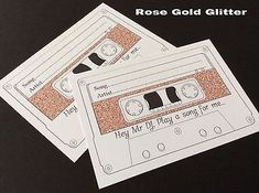 GLITTER WEDDING SONG REQUEST CARDS CASSETTE TAPE RUSTIC FOR INVITATION RSVP)
