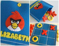 ANGRY BIRDS Tic Tac Toe Game Set   Kids Birthday present by twinsandcrafts