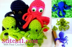 Octopus Family- With Link To Free Crochet Pattern