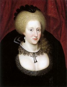1612 - Anne of Denmark wears mourning for her son, Henry, Prince of Wales. She wears a black wired cap and black lace. Anne of Denmark in mourning, by Marcus Gheeraerts the Younger. - in Western European fashion. Mary Queen Of Scots, Queen Anne, King Queen, Adele, Anne Of Denmark, Isabel I, King James I, James 1st, House Of Stuart