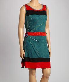 Red & Teal Colorblock Sleeveless Dress - Plus by Rising International, $30 !!  #zulily #zulilyfinds