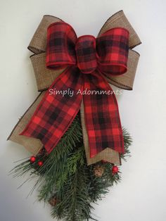 Red Black Tartan Burlap Bow Buffalo Plaid Christmas Bow Red Black Plaid Christmas Wreath Bow Holiday Buffalo Plaid Burlap Christmas Bow