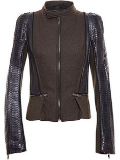 Shop Haider Ackermann Python Sleeve Jacket in Browns from the world's best independent boutiques at farfetch.com. Over 1000 designers from 60 boutiques in one website.
