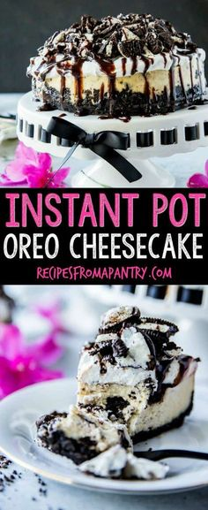 The BEST Instant Pot cheesecake recipe EVER! Instant Pot Cheesecake with Oreos is a lush and gorgeous cheesecake that is SO easy to make. It will quickly become one of your favourite Instant Pot recipes! It is a surprisingly easy Instant Pot recipe and p Dessert Party, Oreo Dessert, Instant Pot Cheesecake Recipe, Best Instant Pot Recipe, Instant Pot Dinner Recipes, Oreo Cheesecake, Cheesecake Recipes, Chocolate Cheesecake, Homemade Cheesecake