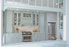 Blue kitchen--LOVE and with a open divider to the other room