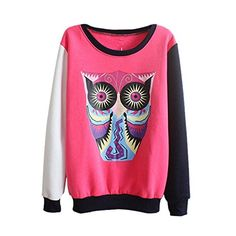 Women Thickened Fleece Double-Color Owl Pattern Sweater Rose