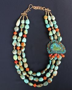 Green Turquoise Nuggets & Fire Agate Necklace
