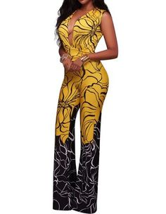 Womens Casual Plunge Sleeveless Floral Lines Print Summer Jumpsuit