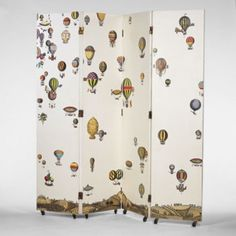 PIERO FORNASETTI screen Italy enameled wood 80 w x 80 d x 1 h inches Fornasetti's decorations bring classical motifs to modern design. In this screen a Century balloon race is depicted. Folding Screen Room Divider, Folding Screens, Room Dividers, Feng Shui, Painted Furniture, Furniture Design, Balloon Race, Piero Fornasetti, Mid Century Modern Design