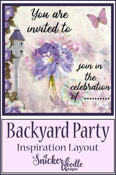 Backyard Party by Snickerdoodle Designs was perfect for this wonderful invitation jillybean! The border cluster is so pretty with your choice of background paper.
