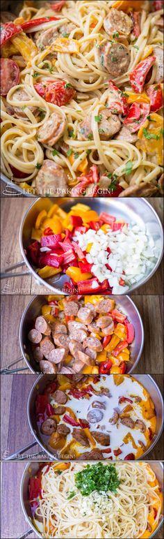 Quick & Delicious, Sausage Pepper Fettuccine Skillet is a Dinner That's Sure to Impress Your Family. Let the Baking Begin I Love Food, Good Food, Yummy Food, Tasty, Pork Recipes, Cooking Recipes, Healthy Recipes, Family Recipes, Recipies