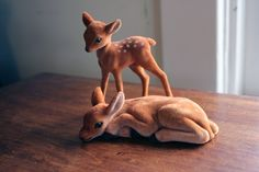 Baby and mother velvet deer set by popstarscrafts on Etsy, $6.00