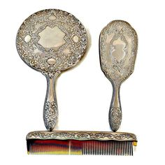 Dresser Set Silver Plate Mirror Hair Brush and by EclecticVintager
