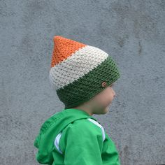 Baby Boy Toddler Cotton Hat in Irish Flag Colours by acrazysheep Irish Flag Colors, St Patricks Day Hat, Baby Boy Hats, Cotton Hat, Boy Toddler, Baby Pictures, Winter Hats, Crochet Hats, Valentines