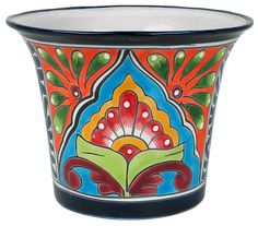 Large Traditional Talavera Flower Pot. Talavera is a decorative earthenware pottery style that is recognized by its bold colors and patterns creating traditional Mexican designs. Talavera pottery is all handmade and handpainted by Mexican craftsmen. Use these colorful flower pots in your garden or on your patio for an authentic Mexican look. $55.45