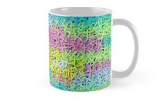 A colorful mug, perfect for a cup of on a sleepy Coffee Lovers, Cool Items, Color Patterns, Beautiful Things, Joy, Invitations, Colorful, Ceramics, Group