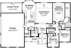 The charming 1-story home's floor plan has 1706 square feet of heated and cooled living space and delightful features: • Screened-in porch • Good-size laundry room • Double-door reach-in kitchen pantry • Mud room • Lots of storage in the unfinished walkout basement #houseplan #Mudroom