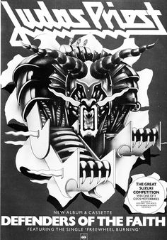 """rockandrollpicsandthings: """" Ad for Judas Priest's Defenders Of The Faith album with added Suzuki competition """""""