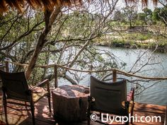 The view from your private deck when staying at Sindabezi Island Camp. Victoria Falls, Lodges, Safari, Africa, Deck, Camping, River, Island, Outdoor Decor