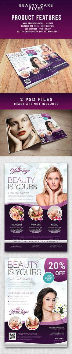 Beauty Care Flyer — Photoshop PSD #treatment #promotion • Available here → https://graphicriver.net/item/beauty-care-flyer/17826420?ref=pxcr