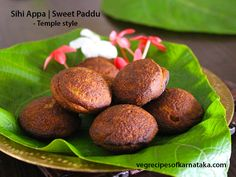 Sihi appa or sweet paddu recipe explained with step by step pictures. This is a temple style appa or sweet paddu. Sweet appa is prepared using banana, coconut, jaggery and rice flour. This sweet paddu is also popular by name sweet paniyaram or unniyappam.