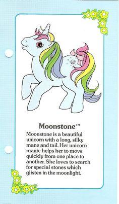 My Little Pony Moonstone fact file . My Little Pony Tattoo, My Little Pony Unicorn, My Lil Pony, Original My Little Pony, Vintage My Little Pony, 90s Childhood, Childhood Memories, Beautiful Unicorn, Favorite Cartoon Character